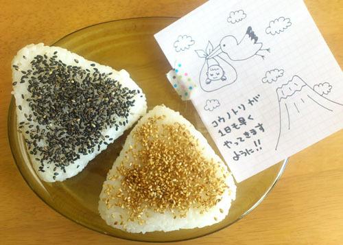 ポテ子のベビ待ち→ベビ来た絵日記-塩むすび 妊娠 ジンクス 子宝