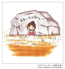 $赤星ポテ子★イラストレーターのブログ-温泉 雨 マンガ